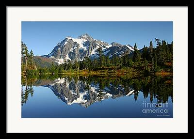 Mountain Reflection Lake Summit Mirror Framed Prints