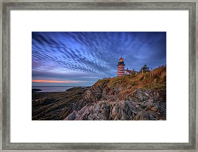 October Sky At West Quoddy Head Light Framed Print