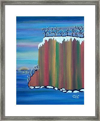 Framed Print featuring the painting October Snow by Carolyn Cable
