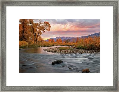 Framed Print featuring the photograph October Sunrise At The Provo River. by Johnny Adolphson