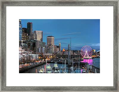 October Twilight Seattle Waterfront Framed Print