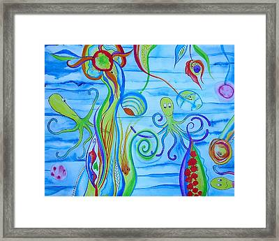 Framed Print featuring the painting Octopus' Garden by Erika Swartzkopf