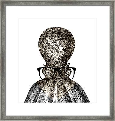 Octopus Head Framed Print by Frank Tschakert