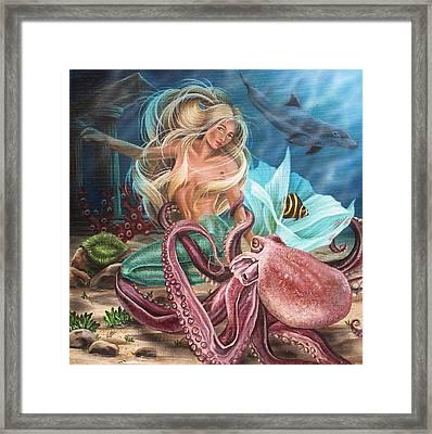 Octopus Mermaid Framed Print