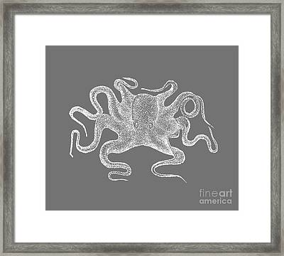Octopus White Ink Tee Framed Print by Edward Fielding