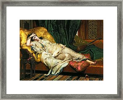 Odalisque With A Lute Framed Print