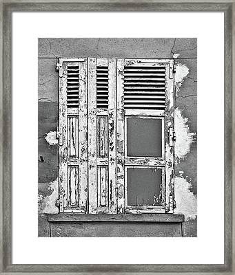Framed Print featuring the photograph Odd Pair - Shutters by Nikolyn McDonald