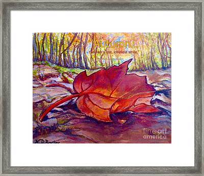 Ode To A Fallen Leaf Painting With Quote Framed Print