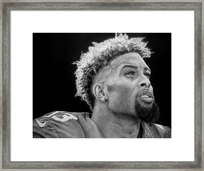 Odell Beckham Jr. Drawing Framed Print by Angelee Borrero