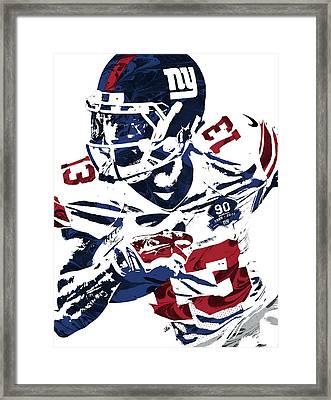 Odell Beckham Jr New York Giants Pixel Art Framed Print by Joe Hamilton