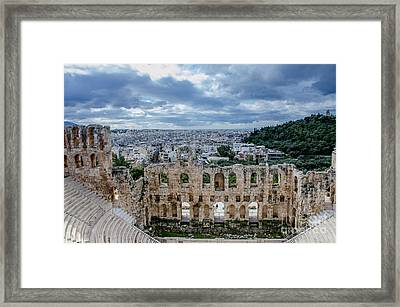 Odeon Of Herodes Atticus - Athens Greece Framed Print by Debra Martz