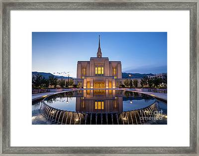 Odgen Lds Temple Sunrise Reflection 2 - Utah Framed Print