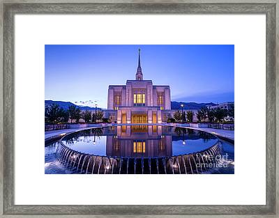 Odgen Lds Temple Sunrise Reflection - Utah Framed Print