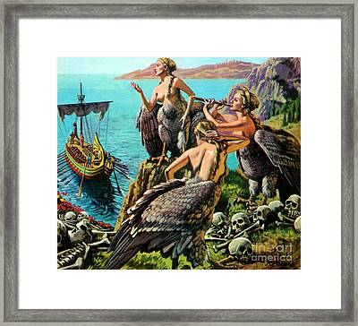 Odysseus And The Sirens Framed Print