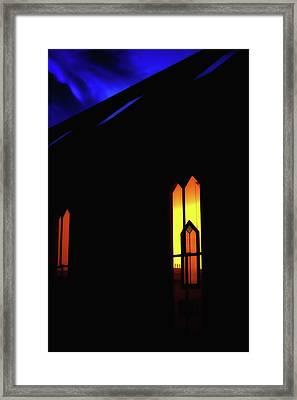 Oella Church Window At Dusk Framed Print