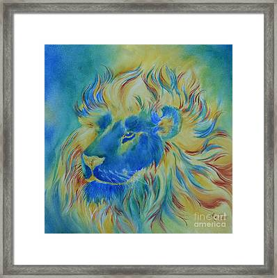 Of Another Color Blue Lion Framed Print