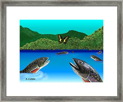Of Brook Trout And Butterflies Framed Print