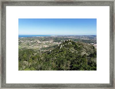 Of Castles And Vistas - An Aerial View Of Moors Castle At Sintra Portugal Framed Print