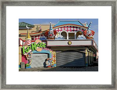 Off Season Boardwalk Framed Print by Mary Haber
