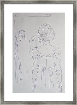 Off To Dinner - Line Illustration Of A Young Woman In A Twenties Period Dress Framed Print by Mike Jory