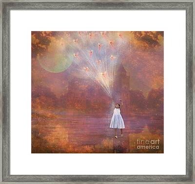 Off To Fairy Land - By Way Of Fairyloons Framed Print by Carrie Jackson
