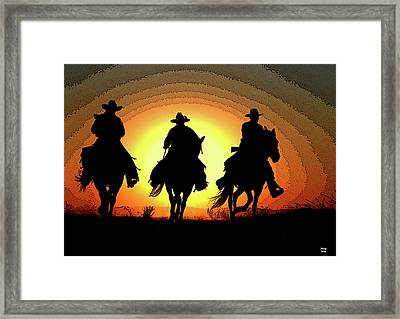 Off To Herd The Cattle Framed Print