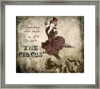 Off To Join The Circus Framed Print by Mindy Sommers