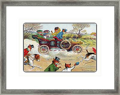 Off To The Hunt By Car Framed Print
