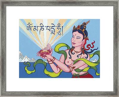 Offering Goddess With Mantra 'om Mani Padme Hum' Framed Print by Carmen Mensink
