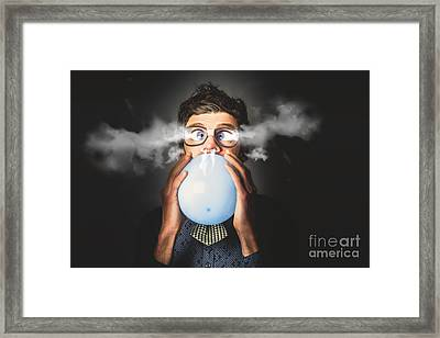 Office Party Nerd Blowing Up Birthday Balloon Framed Print