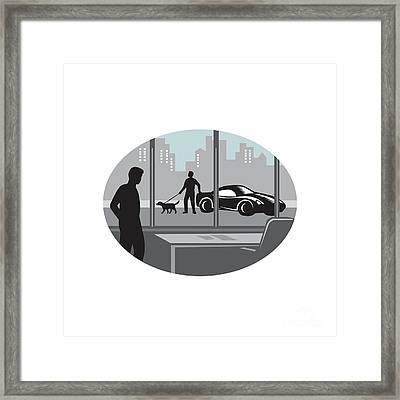 Office Worker Looking Through Window Oval Woodcut Framed Print