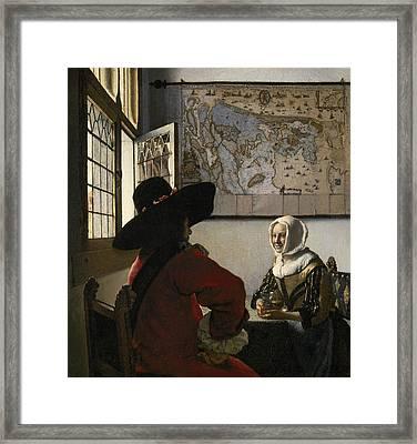 Officer And Laughing Girl Framed Print by Jan Vermeer