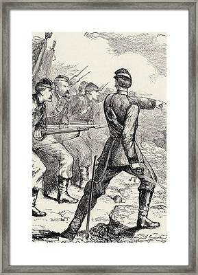Officer Leading Attack In American Framed Print