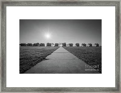 Officers Row Sun Burst Bw Framed Print