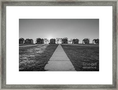 Officers Row Sunset Bw Framed Print