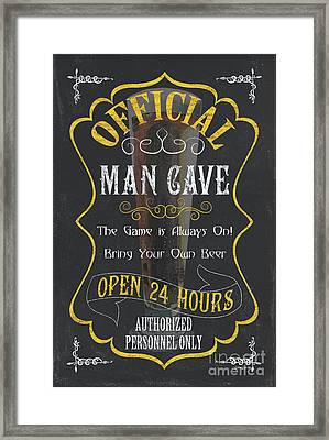 Official Man Cave Framed Print by Debbie DeWitt