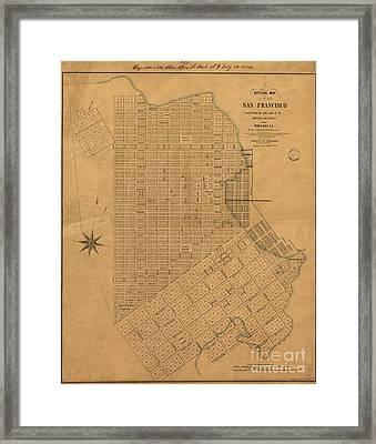 Official Map Of San Francisco 1849 Framed Print