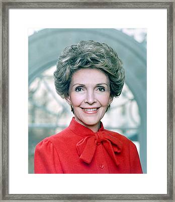 Official Portrait Of First Lady Nancy Framed Print by Everett