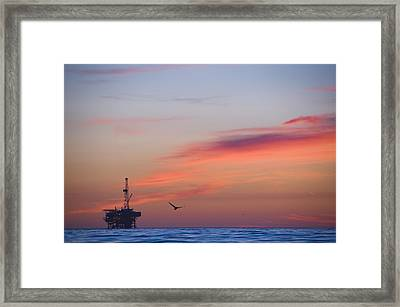Offshore Oil And Gas Rig In The Pacific Framed Print