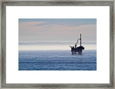 Offshore Oil Drilling Rig Framed Print by Roger Mullenhour