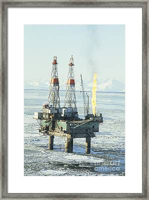 Offshore Oil Wells, Alaska Framed Print by Joseph Rychetnik