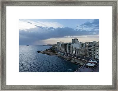 Offshore Rainstorm - Sliema's Famous Promenade Waking Up Framed Print by Georgia Mizuleva
