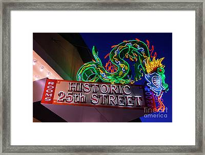 Ogden's Historic 25th Street Neon Dragon Sign Framed Print by Gary Whitton
