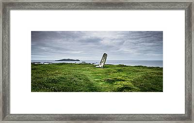 Ogham Stone At Dunmore Head, Dingle Framed Print