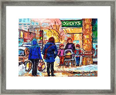 Ogilvy's Beautiful Sunny Winter Stroll Downtown Montreal City Scene Painting Carole Spandau          Framed Print by Carole Spandau