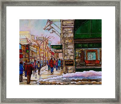 Ogilvy's Department Store Rue St. Catherine Downtown Montreal City Street Scene  Framed Print by Carole Spandau