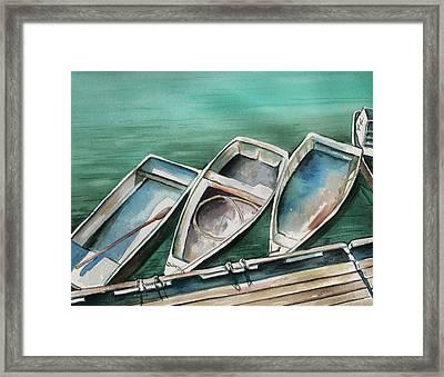 Ogunquit Maine Skiffs Framed Print