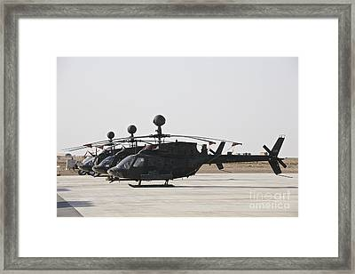 Oh-58d Kiowa Helicopters On The Flight Framed Print by Terry Moore