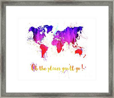 Oh The Places Framed Print