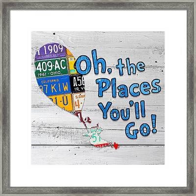 Oh The Places Youll Go Dr Seuss Inspired Recycled Vintage License Plate Art On Wood Framed Print